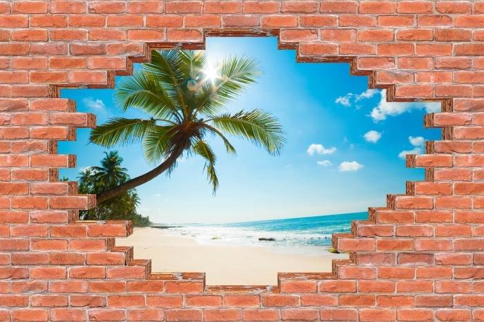 Vinyl-Fototapete Loch in der Wand - Tropischer Strand - Durchbruch in der Wand