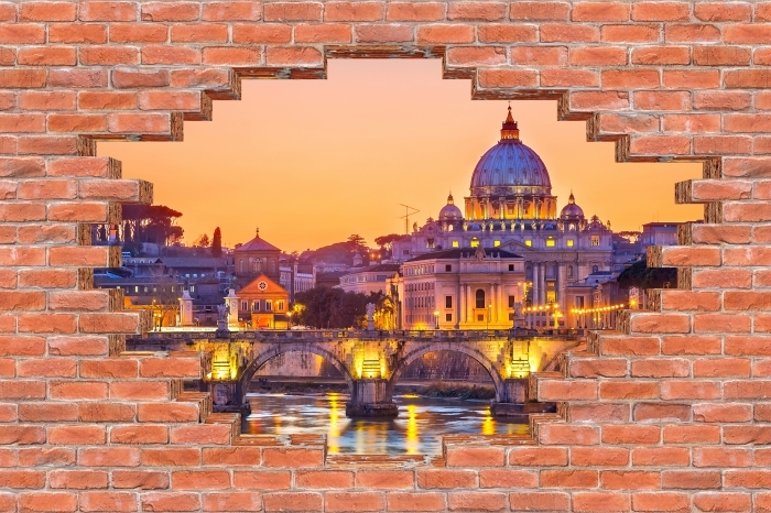 Fototapeta winylowa Dziura w murze - Katedra Świętego Piotra. Rzym - Dziury w ścianie