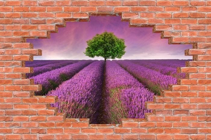 Fototapeta winylowa Dziura w murze - Letni krajobraz - Dziury w ścianie