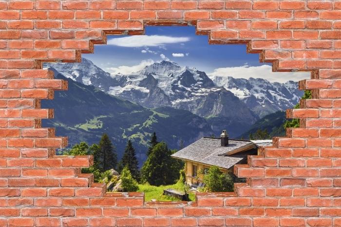 Fototapeta winylowa Dziura w murze - Góry - Dziury w ścianie