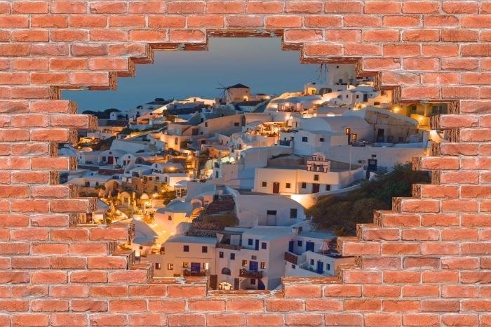 Papier peint vinyle Trou dans le mur - Magnifique coucher de soleil à Oia - Les trous dans le mur