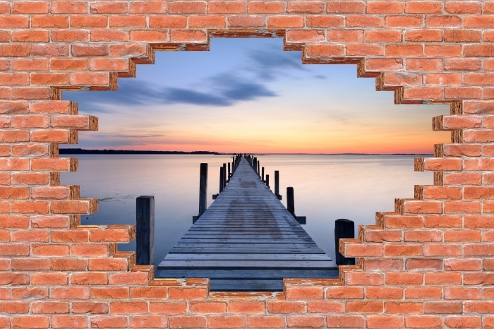 Fototapeta winylowa Dziura w murze - Molo - Dziury w ścianie