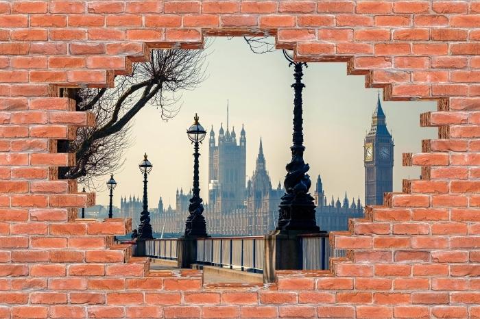 Vinyl-Fototapete Loch in der Wand - Big Ben. London. - Durchbruch in der Wand