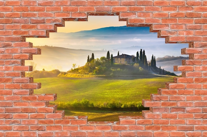 Hole in the wall - Tuscany at dawn Vinyl Wall Mural - Holes in the wall