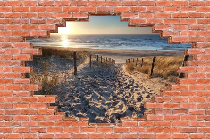 Fototapeta winylowa Dziura w murze - Morze Północne - Dziury w ścianie