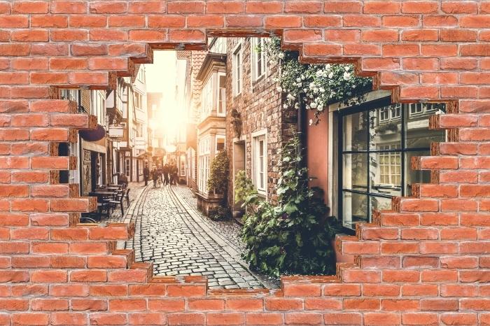 Fototapeta winylowa Dziura w murze - Stare ulice - Dziury w ścianie