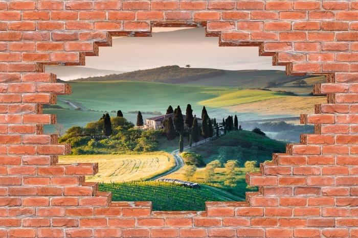 Vinyl-Fototapete Loch in der Wand - Toskana - Durchbruch in der Wand