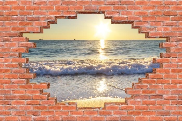 Fototapeta winylowa Dziura w murze - Lato nad morzem - Dziury w ścianie