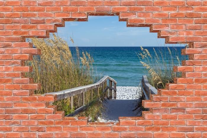 Fototapeta winylowa Dziura w murze - Wydmy - Dziury w ścianie