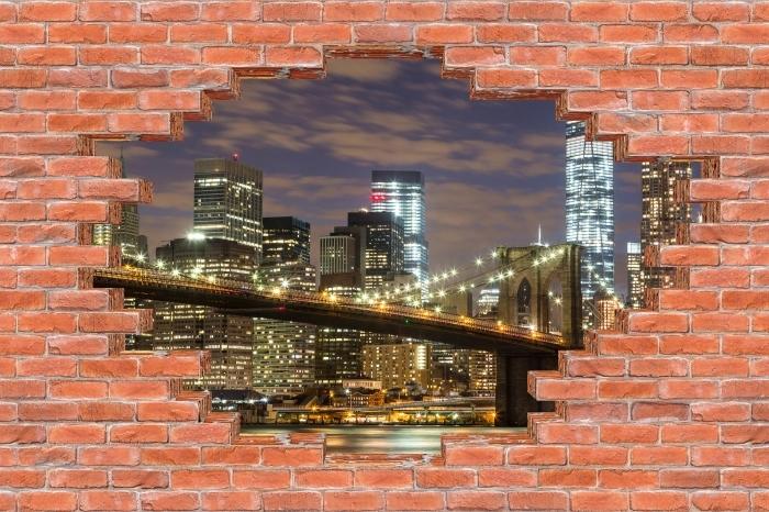 Fototapeta winylowa Dziura w murze - Brooklyn Bridge - Dziury w ścianie