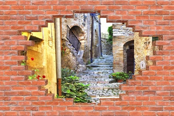 Fototapeta winylowa Dziura w murze - Urocze stare uliczki - Dziury w ścianie