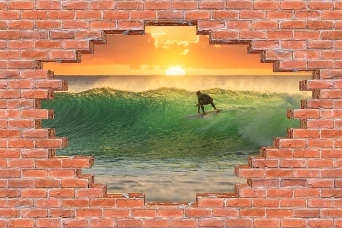 Fototapeta winylowa Dziura w murze - Surfing - Dziury w ścianie