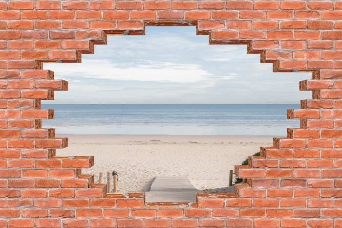 Hole in the wall - beach and sea Vinyl Wall Mural - Holes in the wall