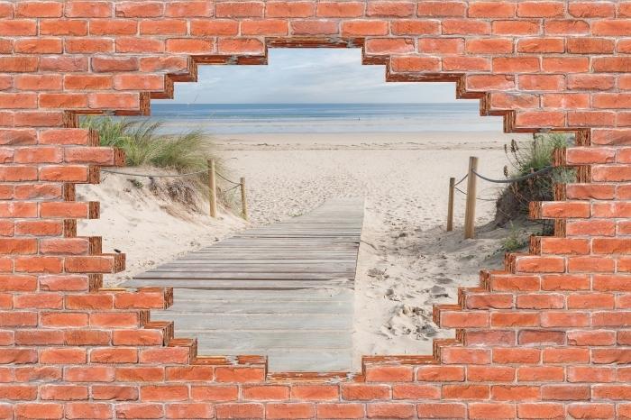 Vinyl-Fototapete Loch in der Wand - Strand und Meer - Durchbruch in der Wand