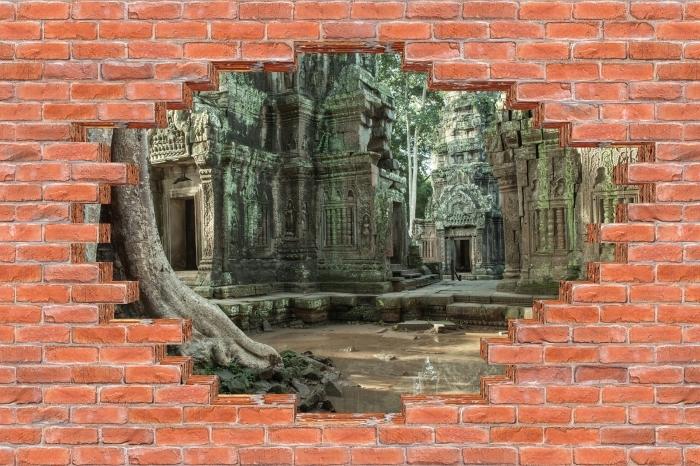 Fototapeta winylowa Dziura w murze - Kambodża - Dziury w ścianie