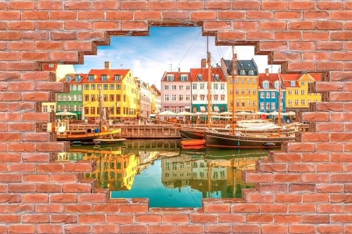 Vinyl-Fototapete Loch in der Wand - Kopenhagen - Durchbruch in der Wand