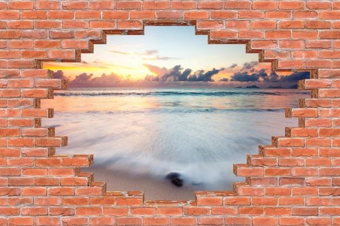 Vinyl-Fototapete Loch in der Wand - Strand - Durchbruch in der Wand