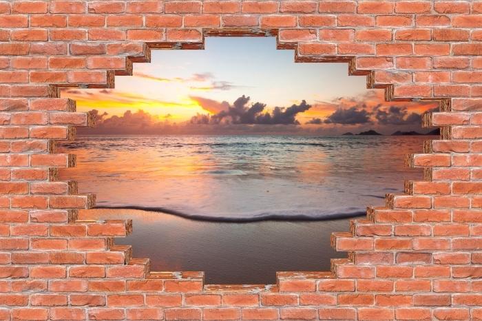 Fototapeta winylowa Dziura w murze - Zachód słońca - Dziury w ścianie