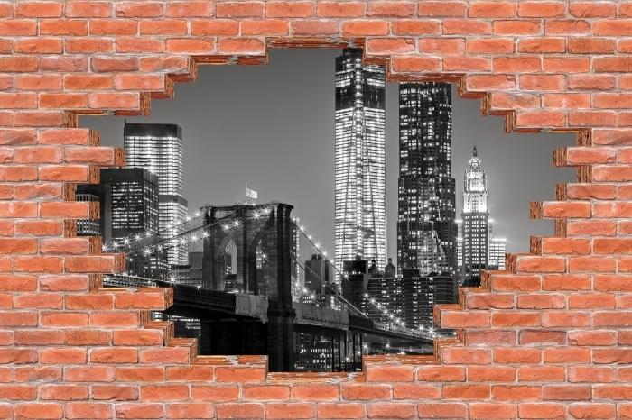 Fototapeta winylowa Dziura w murze - Nowy Jork nocą. Brooklyn Bridge. - Dziury w ścianie