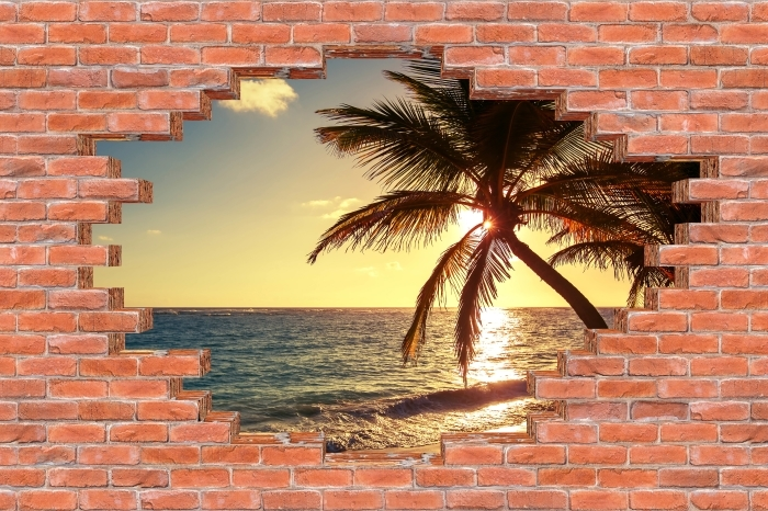 Fototapeta winylowa Dziura w murze - Palmy na tropikalnej plaży - Dziury w ścianie