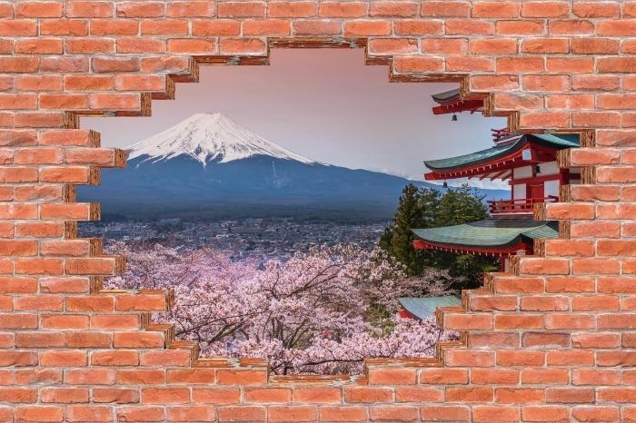 Fototapeta winylowa Dziura w murze - Fuji - Dziury w ścianie