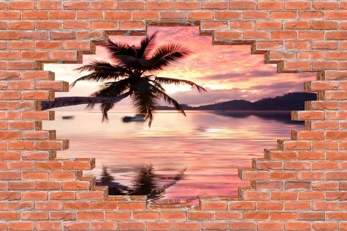 Fototapeta winylowa Dziura w murze - Morze - Dziury w ścianie