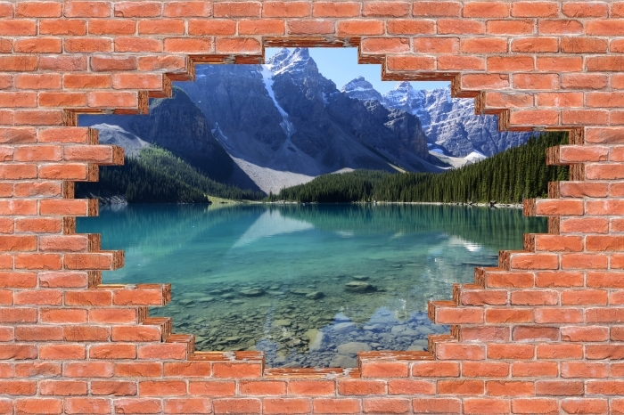 Fototapeta winylowa Dziura w murze - Letni poranek - Dziury w ścianie