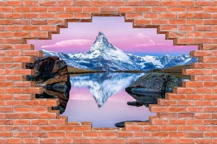Fototapeta winylowa Dziura w murze - Jezioro i góry - Dziury w ścianie