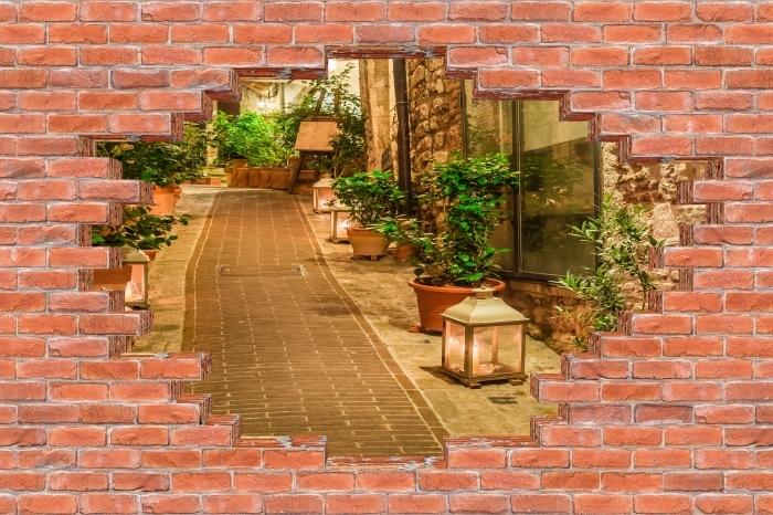 Fototapeta winylowa Dziura w murze - Ulica we Włoszech - Dziury w ścianie