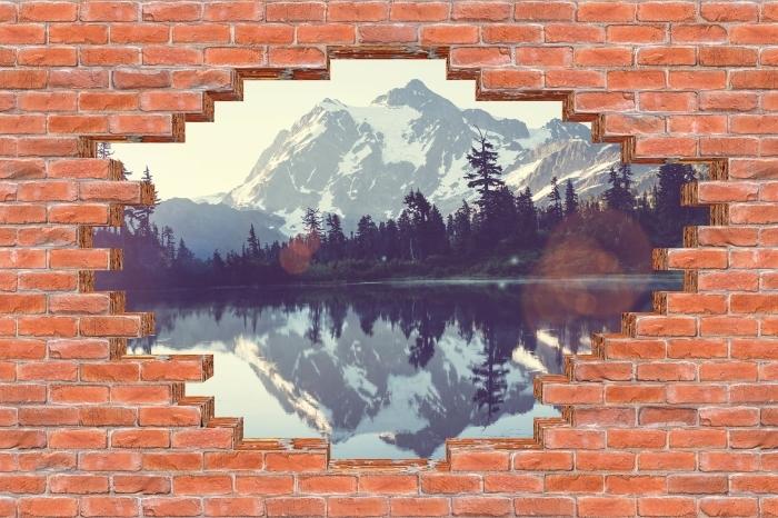 Fototapeta winylowa Dziura w murze - Jezioro - Dziury w ścianie