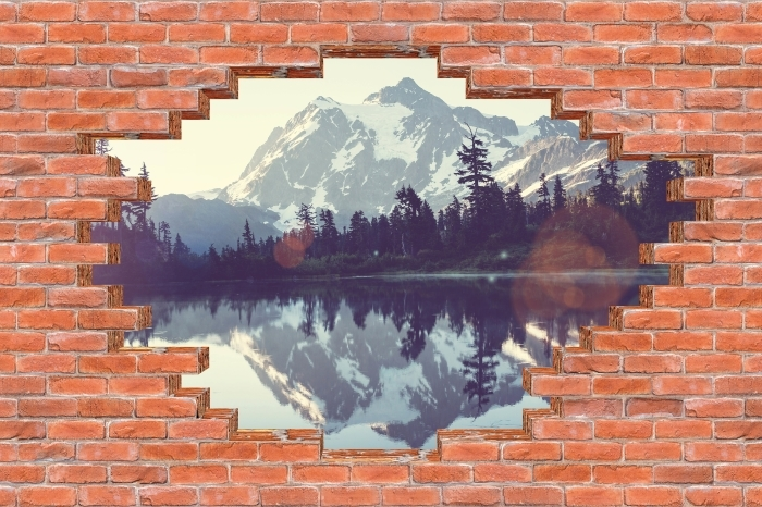 Hole in the wall - Lake Vinyl Wall Mural - Holes in the wall
