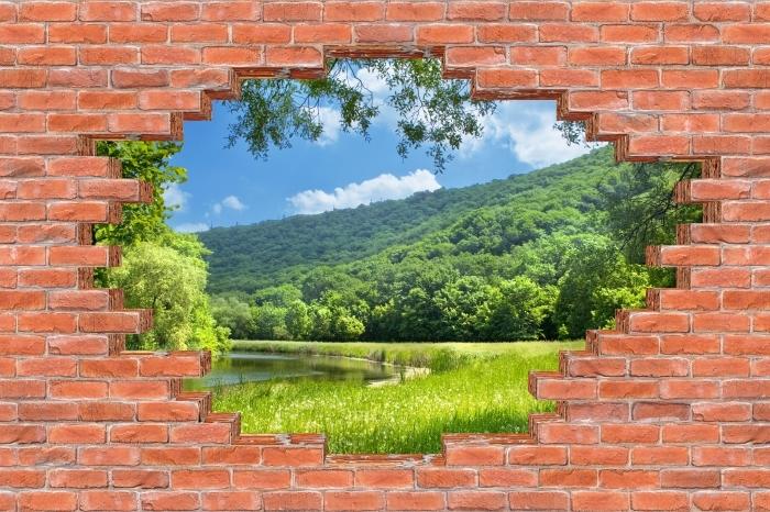 Fototapeta winylowa Dziura w murze - Rzeka - Dziury w ścianie