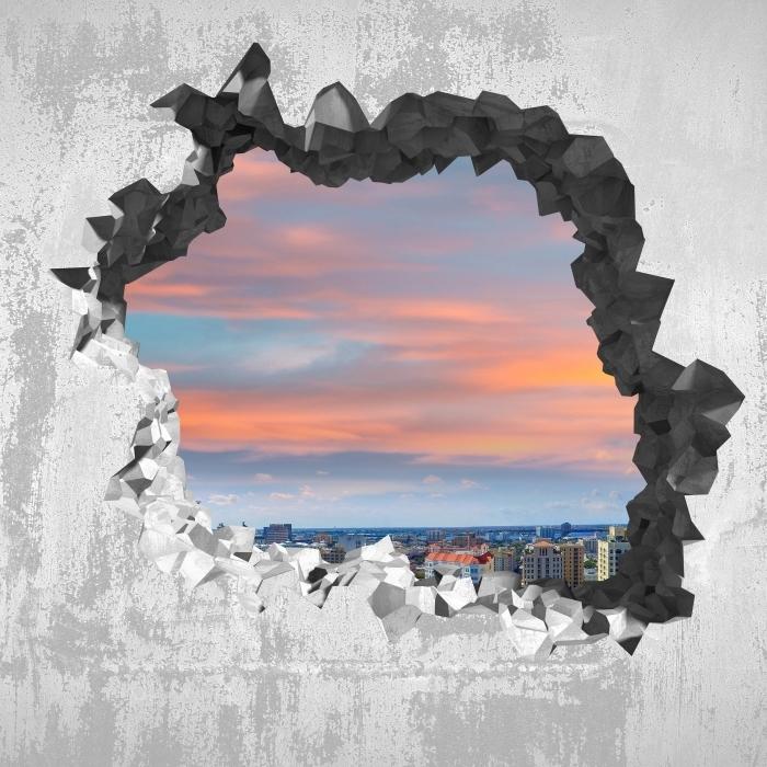 Carta da Parati in Vinile Buco nel muro - Veduta aerea - Buchi nel muro