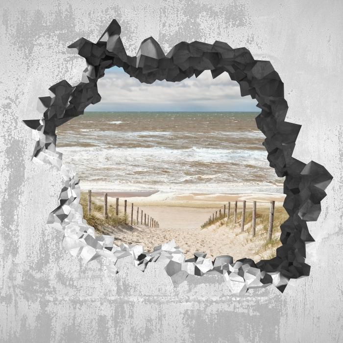 Vinyl Fotobehang Gat in de muur - Zand op het strand op een zonnige dag - Gaten in de muur