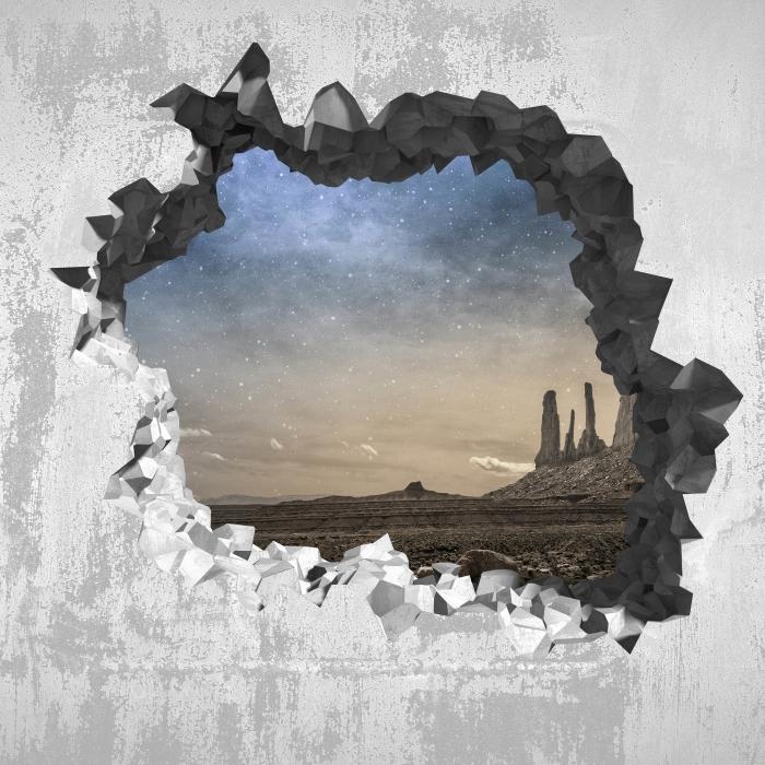 Vinyl-Fototapete Loch in der Wand - Rocky Wüste - Durchbruch in der Wand