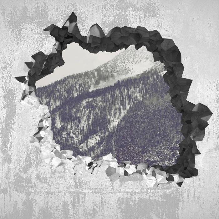 Fototapeta winylowa Dziura w ścianie - Chmury - Dziury w ścianie