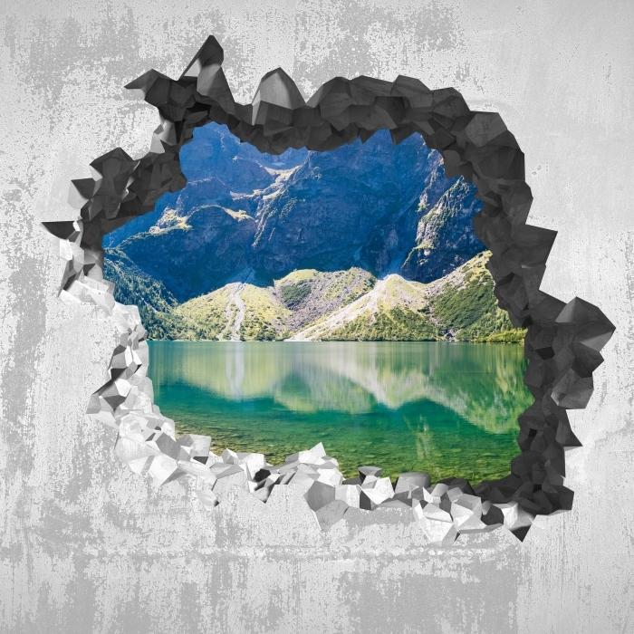 Fototapeta winylowa Dziura w ścianie - Panorama Morskiego Oka - Dziury w ścianie