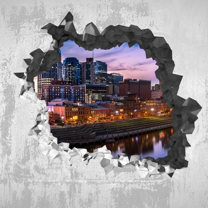 Vinyl-Fototapete Loch in der Wand - Nashville Skyline - Durchbruch in der Wand