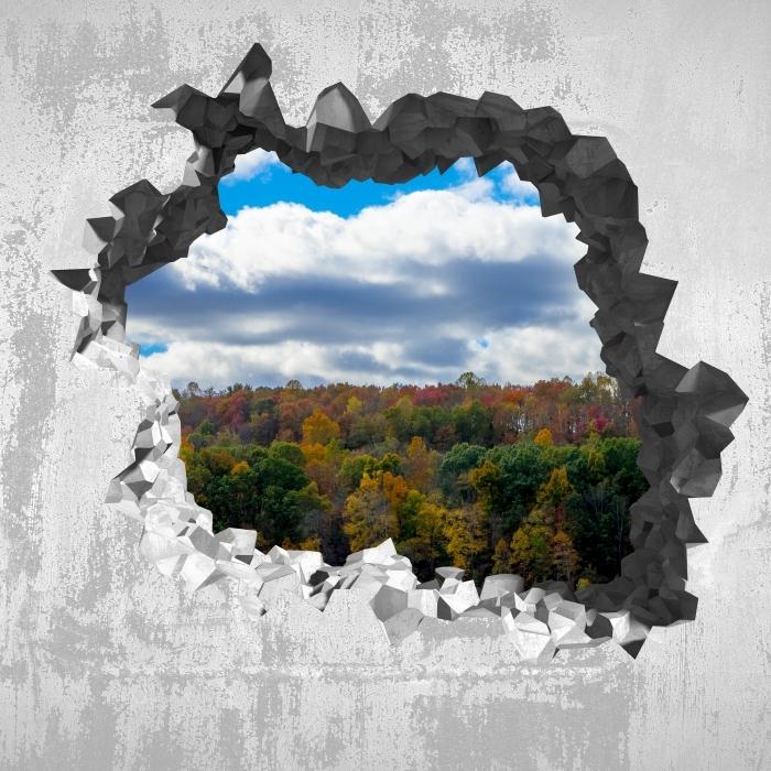 Vinyl-Fototapete Loch in der Wand - Herbst - Durchbruch in der Wand