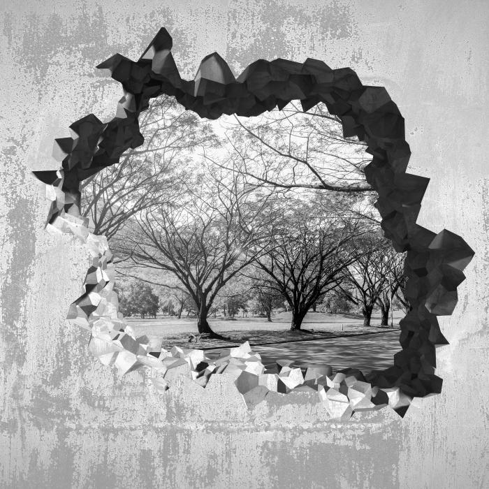 Fototapeta winylowa Dziura w ścianie - Aleja. - Dziury w ścianie