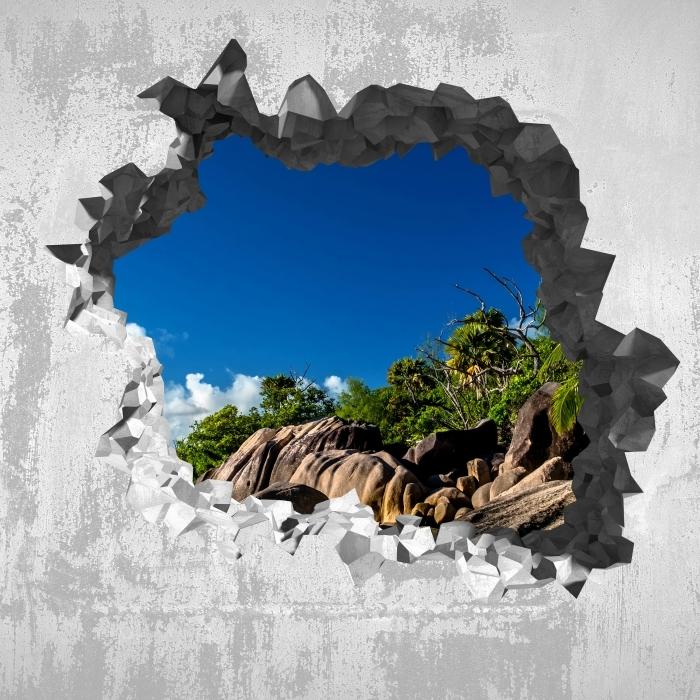 Fototapeta winylowa Dziura w ścianie - Tropiki - Dziury w ścianie