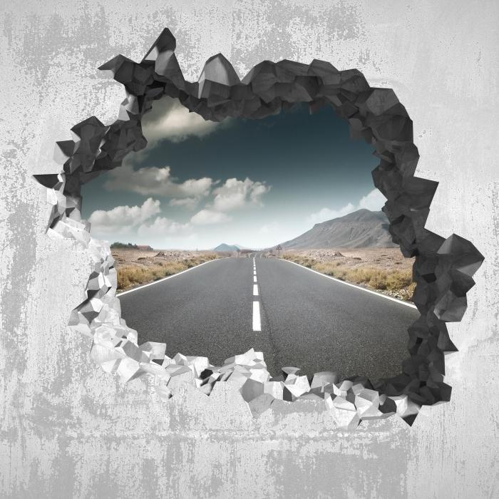 Vinyl-Fototapete Loch in der Wand - Straße durch die Wüste. - Durchbruch in der Wand