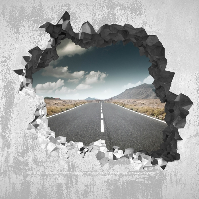 Hole in the wall - Road through the desert. Vinyl Wall Mural - Holes in the wall