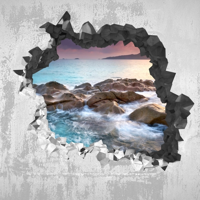 Fototapeta winylowa Dziura w ścianie - Zachód słońca - Dziury w ścianie