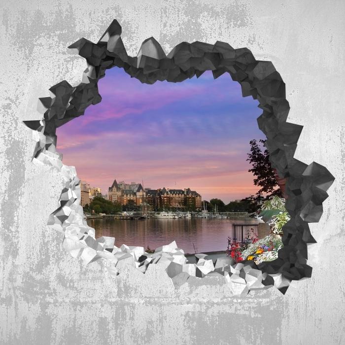 Vinyl-Fototapete Loch in der Wand - Ein Blick auf den Fluss. - Durchbruch in der Wand