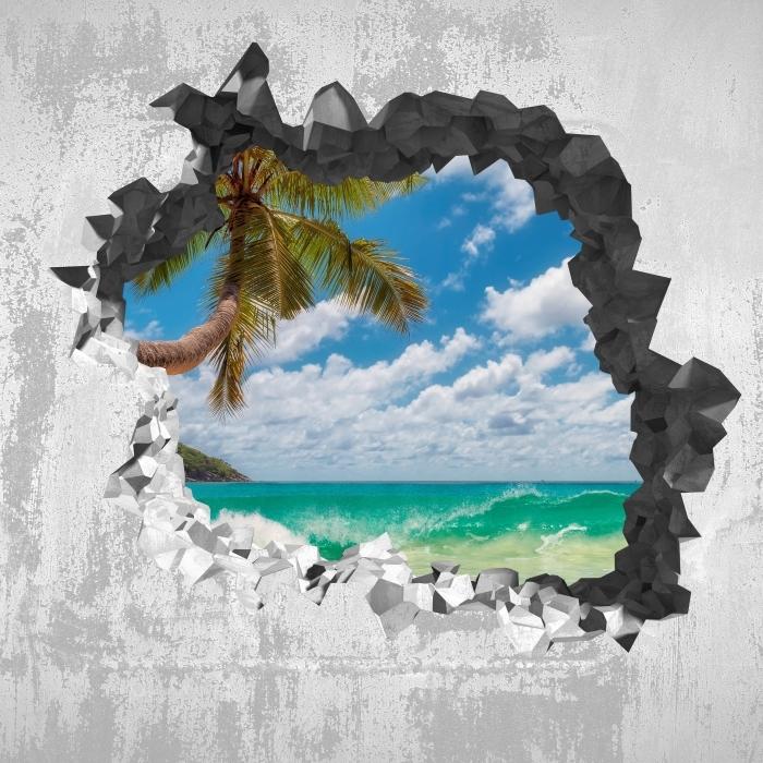 Fototapeta winylowa Dziura w ścianie - Raj na plaży - Dziury w ścianie
