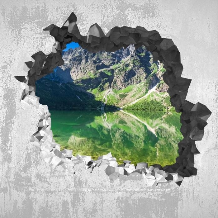 Carta da Parati in Vinile Buco nel muro - Lago in montagna - Buchi nel muro