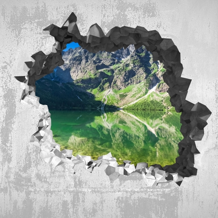 Fotomural Estándar Agujero en la pared - Lago en las montañas - Agujeros en la pared
