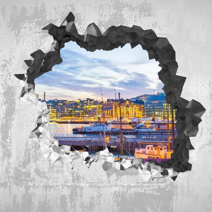 Fototapeta winylowa Dziura w ścianie - Oslo - Dziury w ścianie