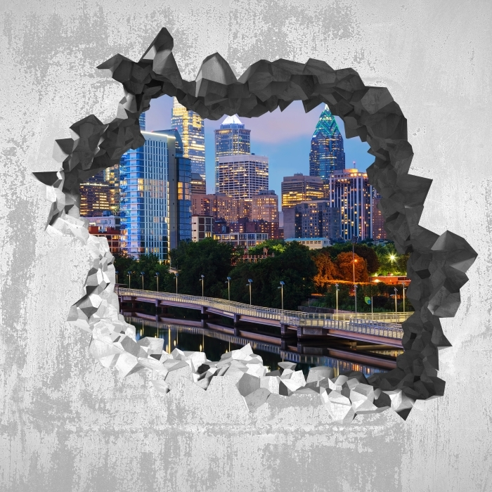 Fototapeta winylowa Dziura w ścianie - Filadelfia w nocy - Dziury w ścianie